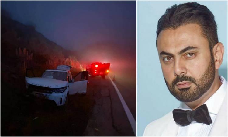 صور  ..  حادث سير لـ محمد كريم فى أمريكا  ..  نجا بأعجوبة