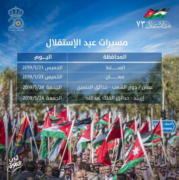 الأردنيون يحتفلون بالعيد الـ 73 لاستقلال المملكة اليوم