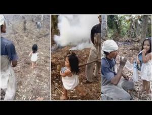 """""""فيديو مؤثر """" طفلة تساعد والدها الاعمى للوصول الى عمله!"""