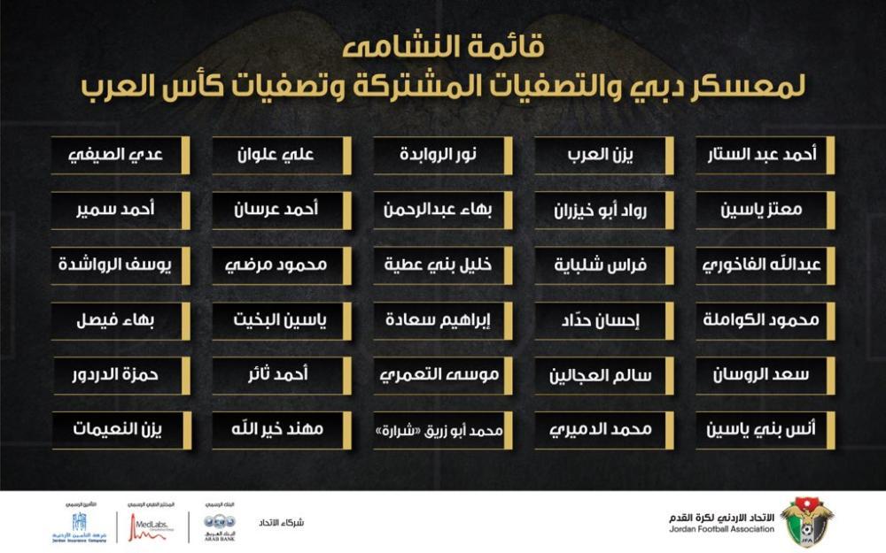 """منتخب النشامى يعلن قائمته لمعسكر دبي وتصفيات المونديال و""""كأس العرب"""""""