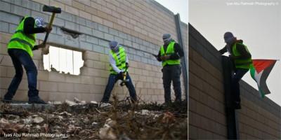 بالصور: ناشطون يهدمون جزءاً من الجدار بالقدس