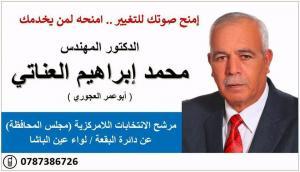 مرشح اللامركزية الدكتور محمد العناتي عن دائرة البقعة