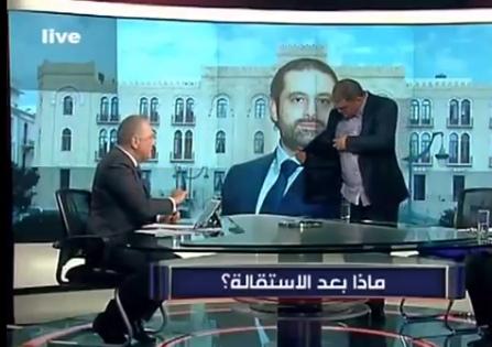 بالفيديو ..  مذيع لبناني يطرد موالٍ لحزب الله من الاستديو على الهواء بعد تلفُظه بألفاظ نابية