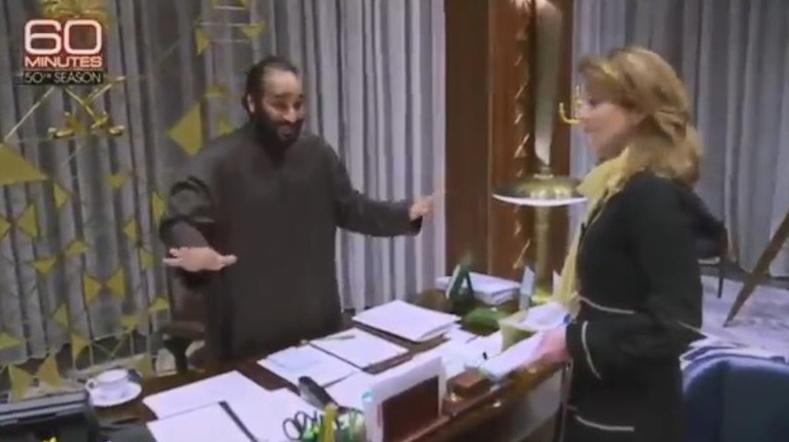 """بالفيديو  ..  كيف كان ردة فعل مذيعة """"60 دقيقة"""" ولماذا اعتذر محمد بن سلمان لها ؟"""