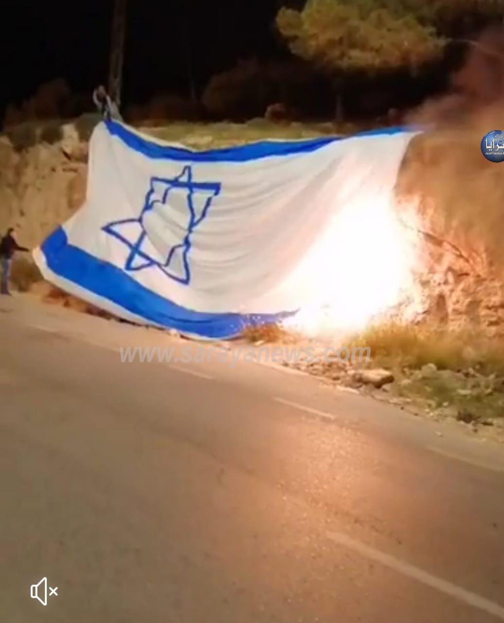 بالفيديو و الصور  .. العبابيد يحرقون علم اسرائيل على جبال السلط