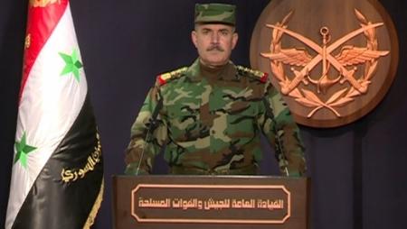 الجيش السوري يصدر بياناً تعقيباً على الضربات الجوية التي نفذتها امريكا و فرنساو بريطانيا ضد سوريا