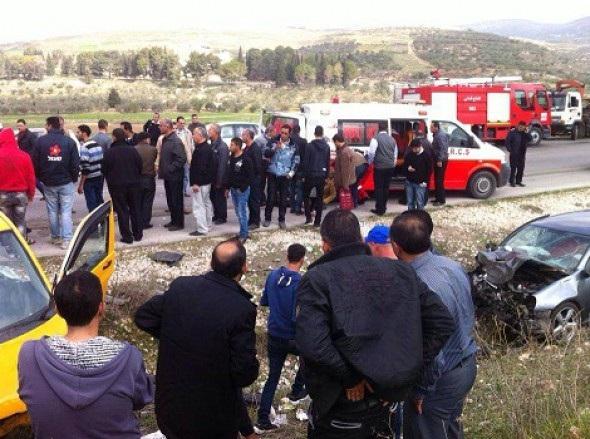 شاهد صور اصابات حادث سيار في نابلس