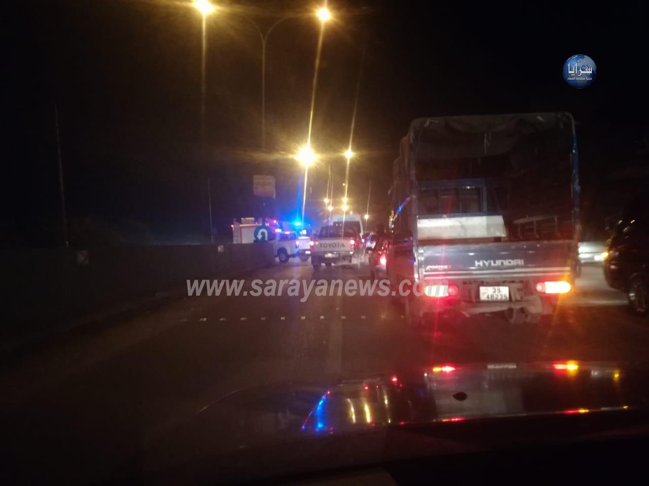 اصابة شخص اثر حادث تصادم بين مركبتين على طريق طلوع صافوط .. صور