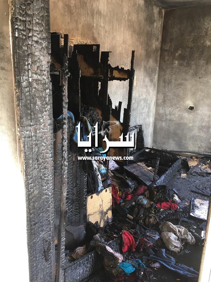 بالصور ..  النيران تلتهم منزلاً في المفرق وتتلف كافة محتوياته