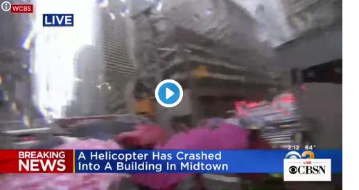 بالفيديو : مصرع شخص جراء تحطم مروحية فوق مبنى بنيويورك