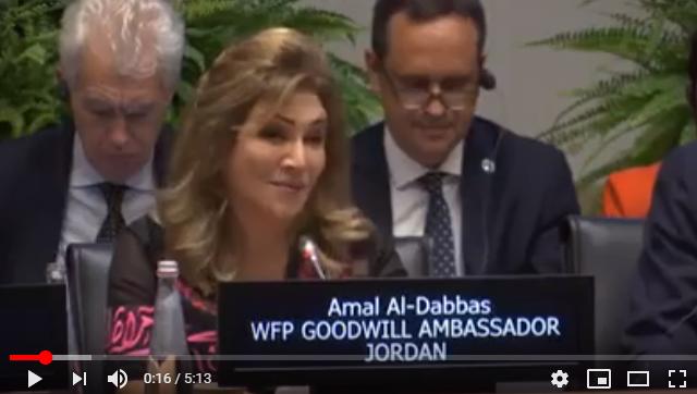 بالفيديو  ..  نص كلمة الفنانه امل الدباس في المجلس التنفيذي لبرنامج الاغذيه العالمي