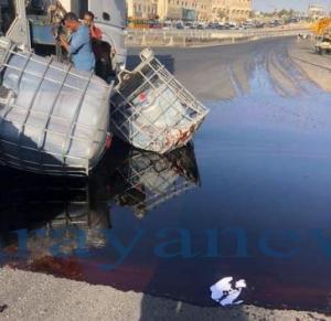 """تحذير بسبب مادة  """"الجليسرين"""" المنسكبة على الطريق العام قرب جسر ماركا"""