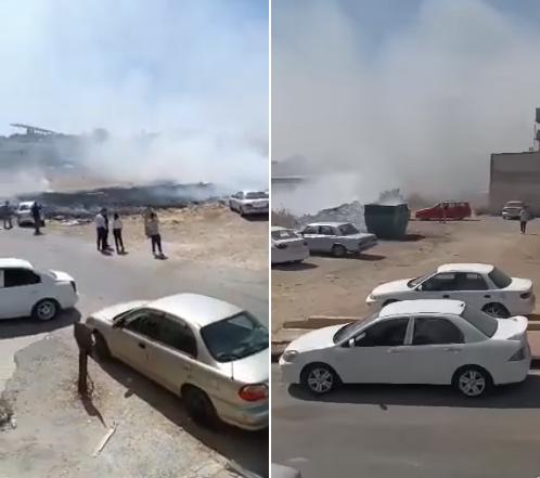 بالفيديو ..   الدفاع المدني يتعامل مع حريق بمحيط مجمع سفريات عمان الجديد في اربد