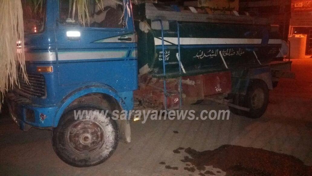 بالصور  ..  وفاة شخص دهساً من قبل صهريج ماء في دير علا