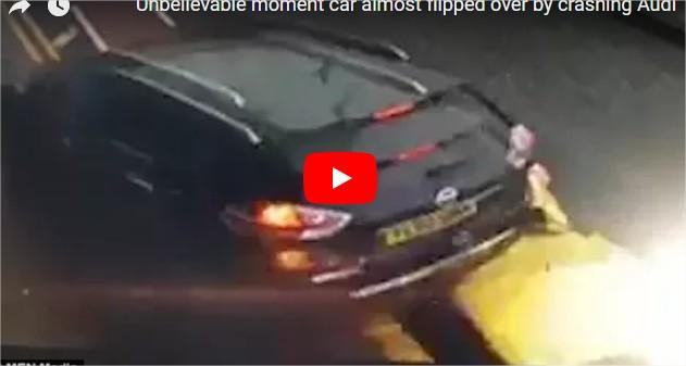 بالفيديو  : سيارة فارهة تنزلق بسرعة عالية تحت أخرى وتقذفها في الهواء