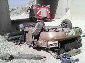 بالصور .. اربد : وفاة عشريني بعد  تدهور مركبته وسقوطها من جسر كفر يوبا
