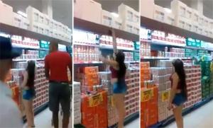 بالفيديو.. فتاة قصيرة تتعرض لموقف محرج داخل سوبر ماركت