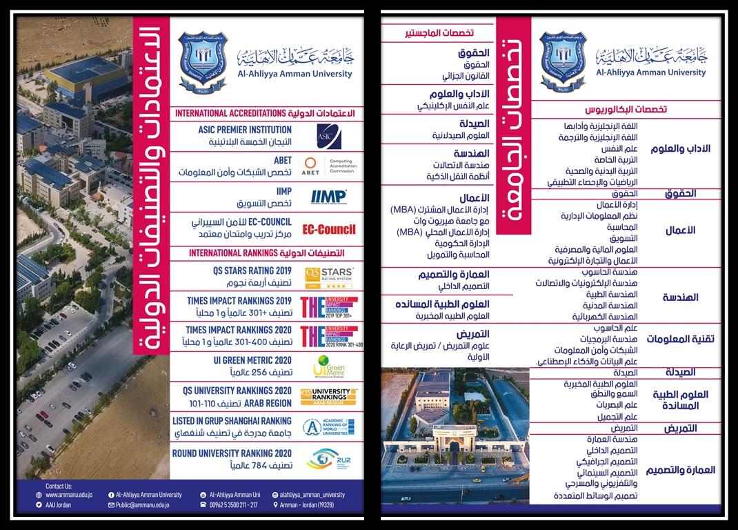 جامعة عمان الأهلية تعلن عن تخصصاتها لدرجتي البكالوريوس والماجستير وعن الاعتمادات والتصنيفات الدولية التي حازت عليها