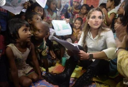 بالصور  ..  الملكة : على المجتمع الدولي وضع نهاية لمعاناة الروهينجا