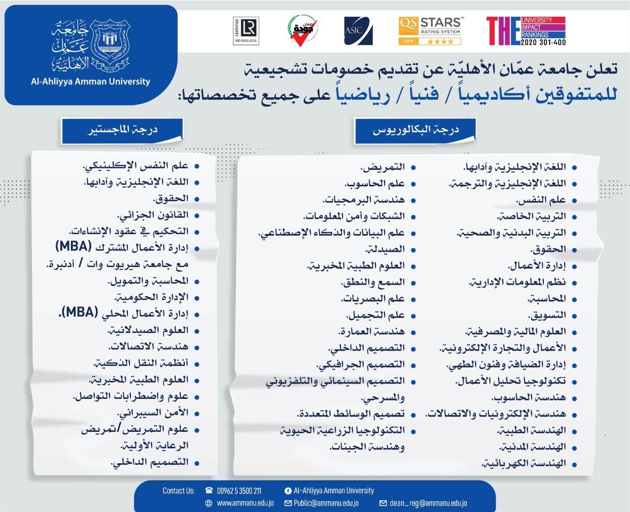 عمان الأهلية  تعلن عن تقديم خصومات تشجيعية للمتفوقين (أكاديمياً / فنياً / رياضياً) على جميع تخصصاتها