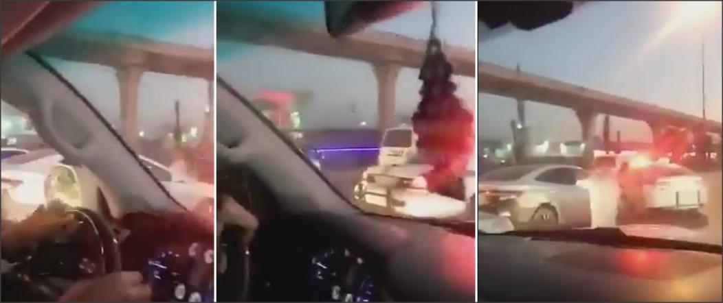 بالفيديو والصور .. رجل يهدد شرطة المرور بـالساطور