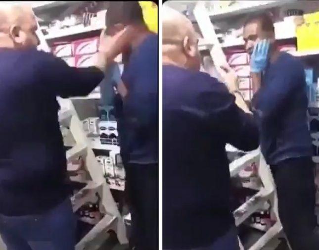 بالفيديو  ..  صيدلي عراقي يضرب عاملاً بوحشية ويصفعه على وجهه