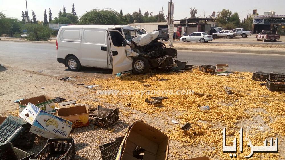 بالصور  ..  وفاة و اصابة (3) أشخاص بحادث تصادم على طريق البحر الميت