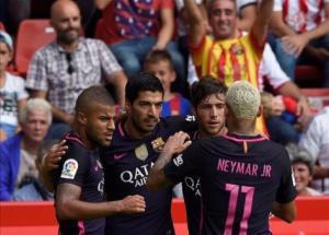 برشلونة يعود بخماسية من خيخون من دون ميسي