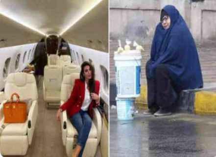 شاهدوا  ..  صورة ياسمين صبري في الطائرة تُشعل الحزن في مصر بعد مقارنتها مع سيدة تفترش الأرض في يوم ممطر عاصف