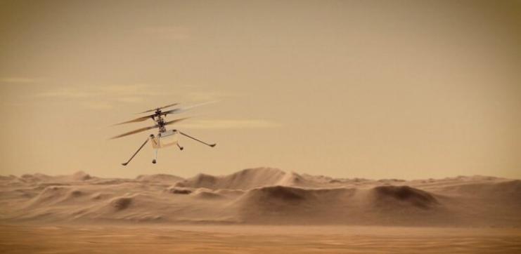 في خطوة تاريخية ..  مروحية ناسا الصغيرة تنجح بالتحليق في أجواء المريخ ..  فيديو