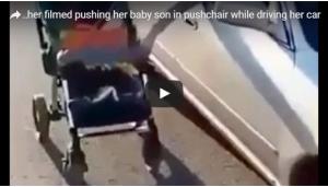 بالفيديو: أم تجر عربة طفلها في الطريق بينما تقود سيارتها