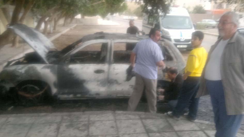 أحراق مركبة محامية من قبل مجهولين في منطقة العقبة
