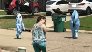 طفل أمريكي يتنكر في زي قرش لمغادرة المنزل في زمن كورونا