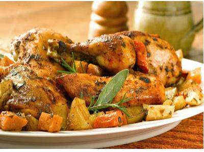 دجاجة بالخضروات فى الفرن