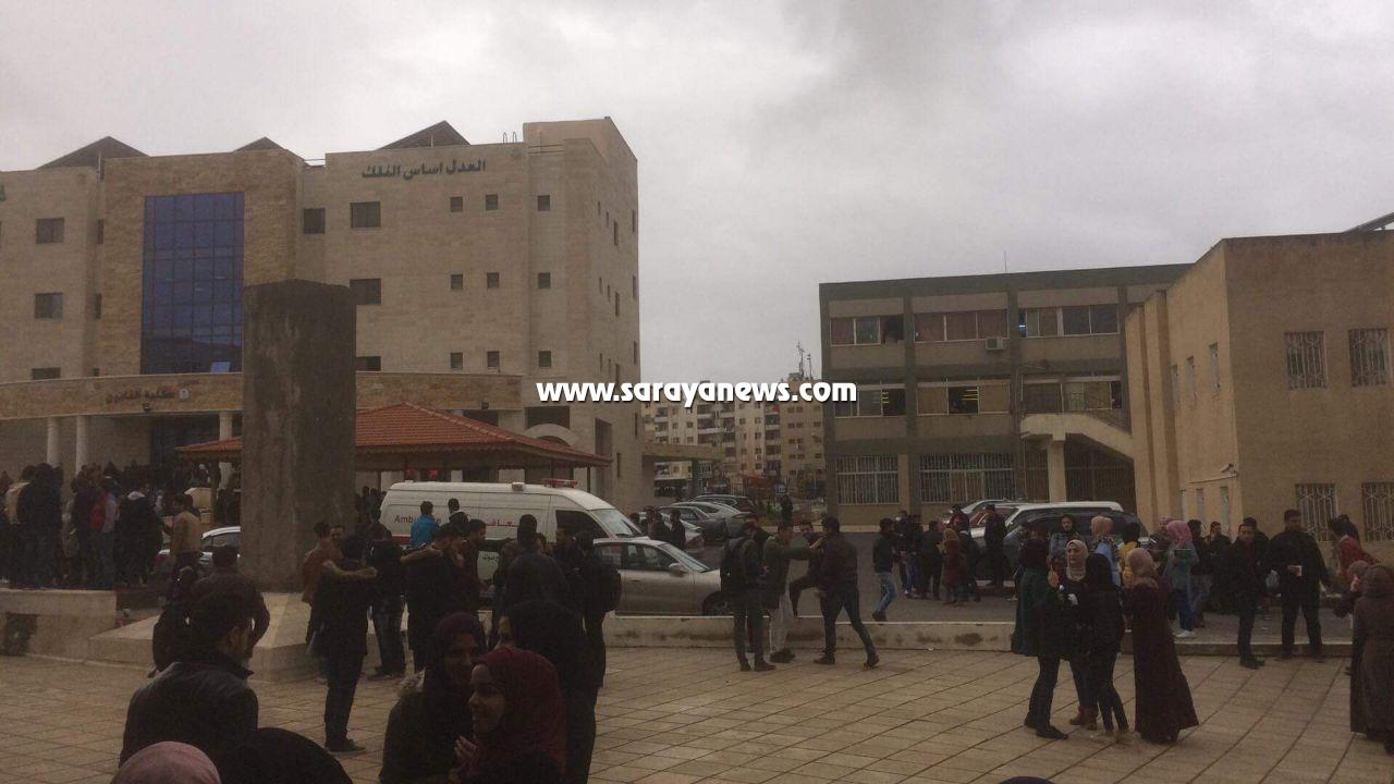 بالصور والفيديو  ..  طالبة تحاول الانتحار من فوق كلية الحجاوي بجامعة اليرموك