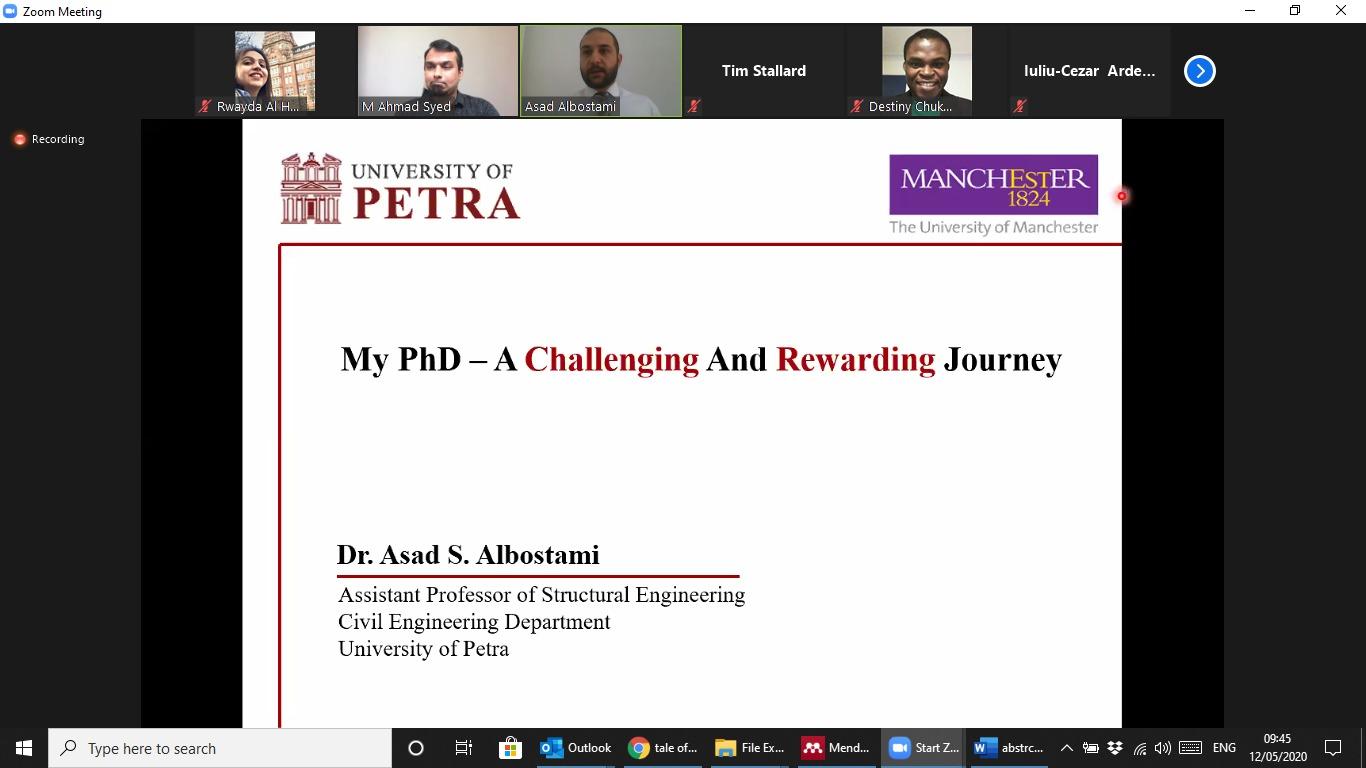 مؤتمر الهندسة الميكانيكية والفضائية والمدنية بجامعة مانشستر البريطانية يستضيف أستاذ الهندسة المدنية بجامعة البترا البسطامي