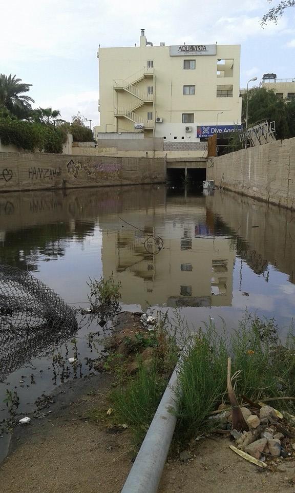 بالصور  ..  مستنقعات الصرف الصحي تغرق شوارع العقبة امام الفنادق  ..  ومخاوف من انتشار الاوبئة