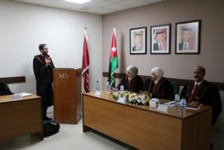 رسالة ماجستير في جامعة الشرق الأوسط تناقش أثر تطبيق الحوكمة على إتخاذ القرارات في الجامعات الأردنية