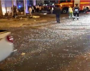بالفيديو والصور  ..  انفجار اسطوانة غاز في مطعم بشارع المدينة المنورة