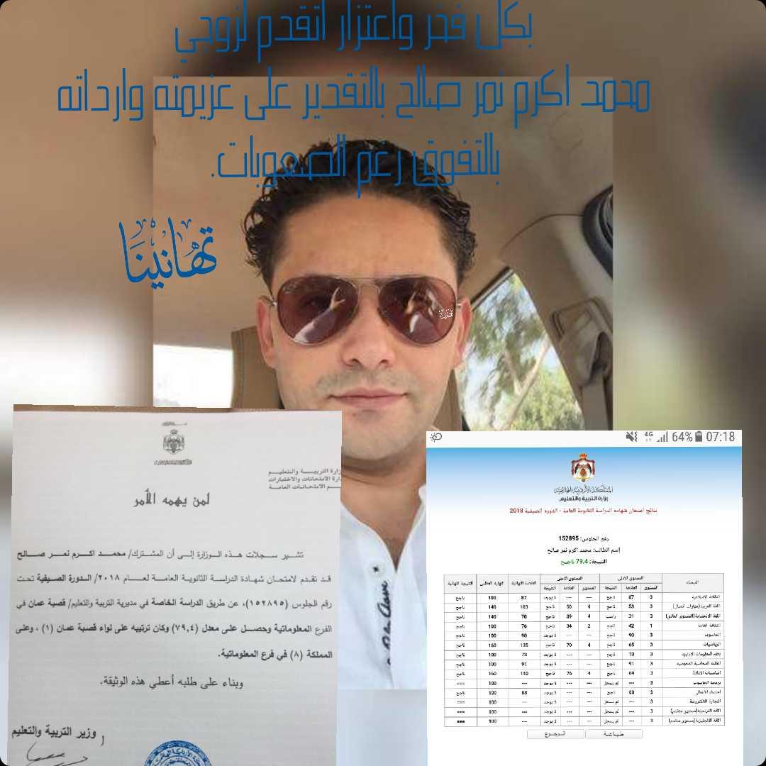 تهنئة بنجاح محمد اكرم نمر صالح بالثانوية العامة