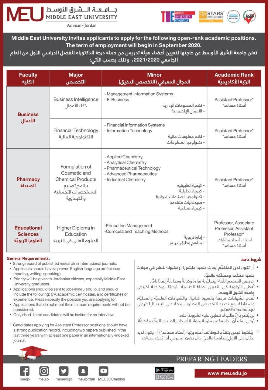إعلان التوظيف الخاص بأعضاء الهيئة الأكاديمية للعام الجامعي 2021/2020