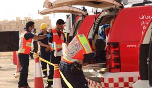 السعودية : وفاة و6 إصابات في انقلاب عائلة على طريق الشمال
