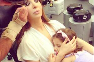 أحدث صورة لابنة نانسي مع خالها