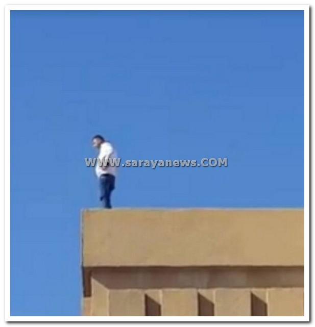بالفيديو و الصور.. مواطن يحاول الانتحار من اعلى عمارة بالقرب من دوار الداخلية