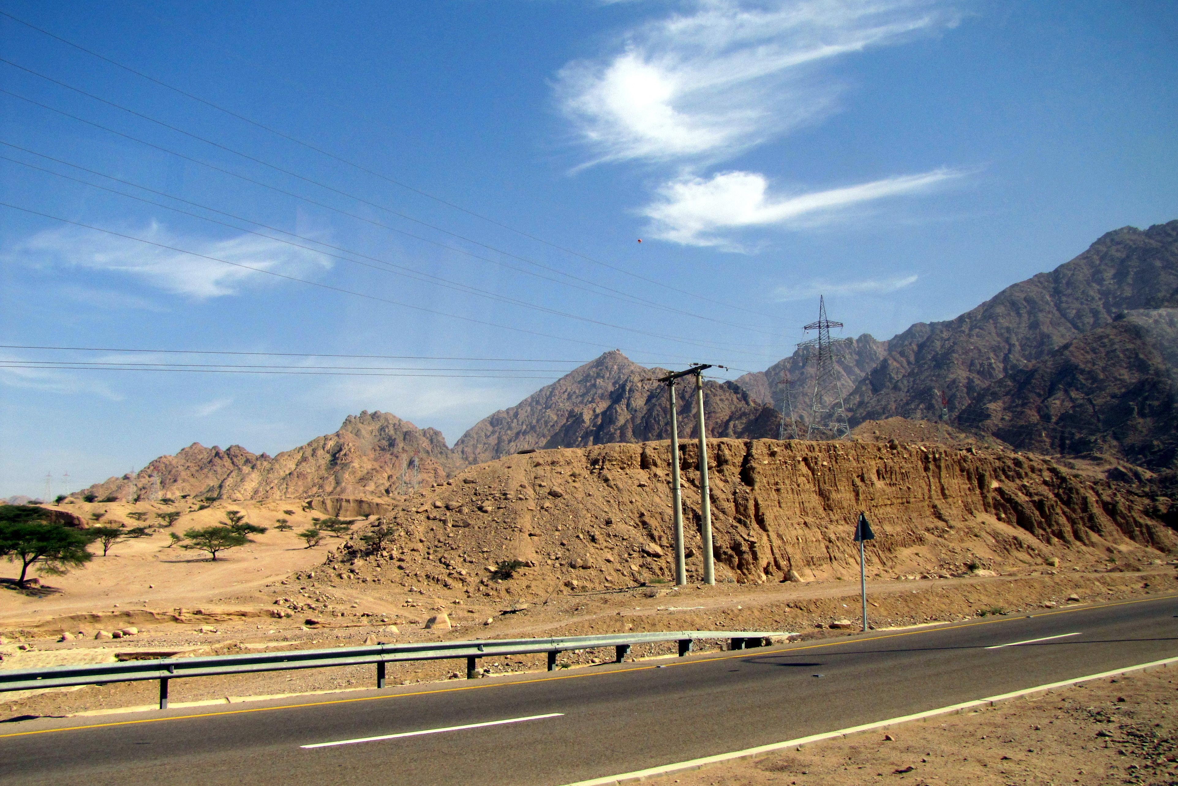 اشخاص يلقون الطوب على الطريق الصحراوي