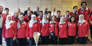 صور  .. بعد نسيانه فى فرنسا  ..  منتخب مصر لكرة السرعة يتسلم كأس العالم