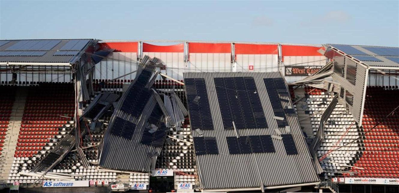 في هولندا ..  مدرجات الملعب انهارت بسبب الرياح!